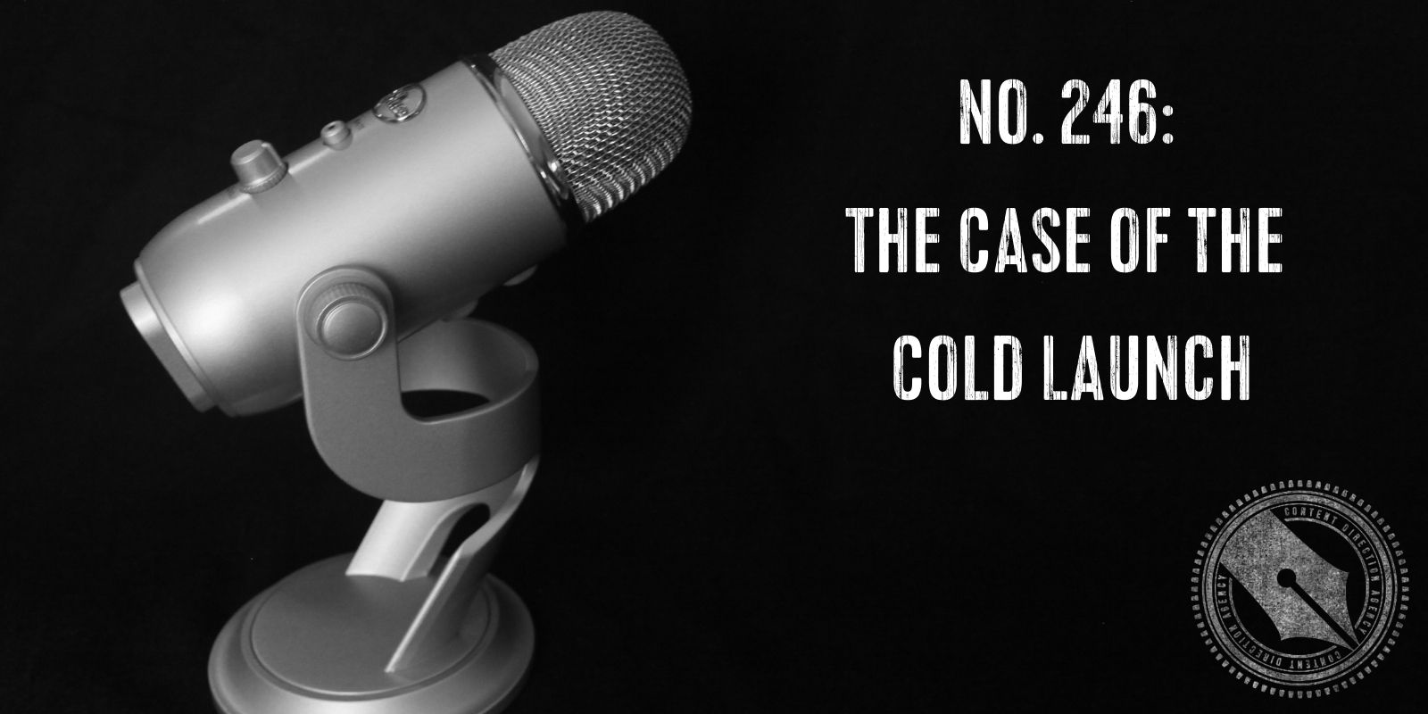 Image of a Yeti microphone on a black background with the blog title superimposed.