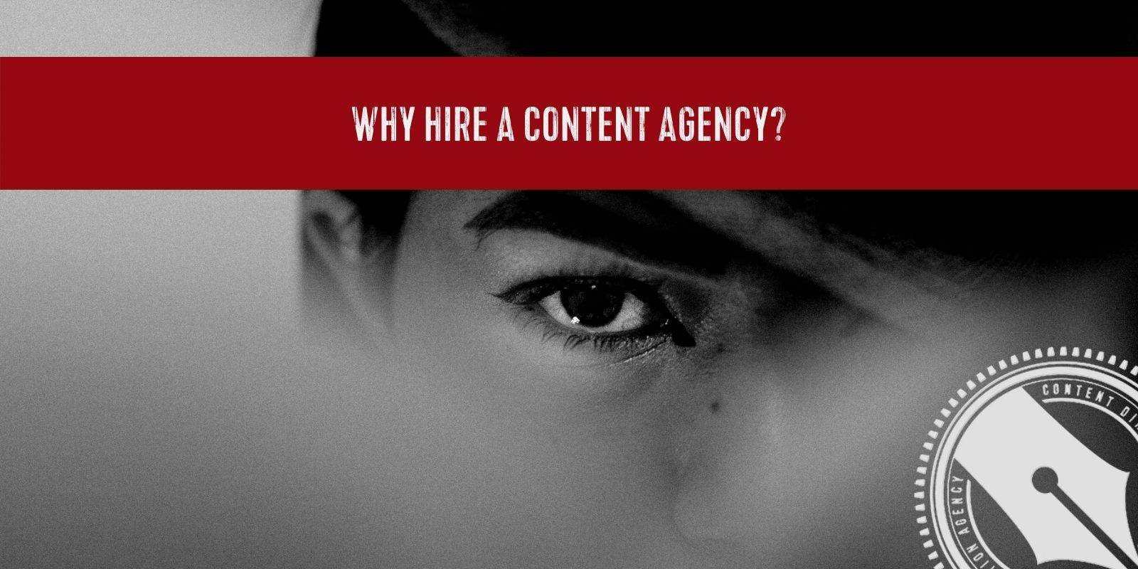[A mysterious dark eye looks up and over a haze. A nicely groomed eyebrow frames the eye beneath a large detective hat asking the question, why hire a fractional marketing team.]